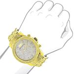 LUXURMAN Mens Diamond Watch Yellow Gold Tone 1Ct-3