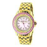Yellow Gold Plated Ladies Real Diamond Pink Watch 0.25ct Luxurman Steel Band 1