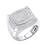 Mens Pinky Ring 10K Gold Diamond Ring 1.8Ctw (Whit