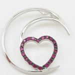 Half moon heart pink stone pendant SB66 37mm tall and 34mm wide 3