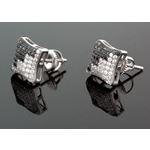 Sterling Silver Unisex Fashion Hand Set Stud Earrings Me0216d 1