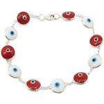 Womens Sterling silver White and red evil eye bracelet 1