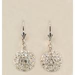 """""""Designer Pave Disco Ball Dangle Sterling Silver Earrings ST07"""