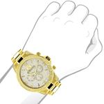 Luxurman Liberty Mens Real Diamond Watch 0.5ct Yellow Gold Plated Swiss Movement 3