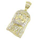 Mens 10k Yellow Gold Jesus head with stones Pendant 1