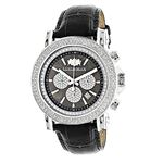 Large Mens Diamond Watch with Black Leat 90083 1
