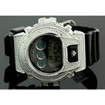 Ice Plus Mens Diamond Shock Style Watch White Case Black Band 1