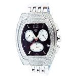 4.00Ct Diamond Black Face Stainless Steel Band Wat