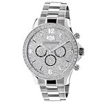 Liberty Mens Real Diamond Watch 2ct by Luxurman White Gold Plated Steel Band 1