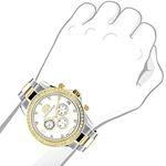 Mens Diamond Watches Two Tone 18K White Yellow G-3