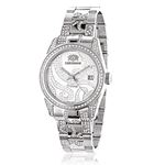 Tribeca Womens Real Diamond Bezel and Band Watch 3ct Platinum Plated by Luxurman 1