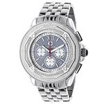 Centorum Mens Real Diamond Watch 0.55ct Midsize Chronograph White MOP Steel Band 1