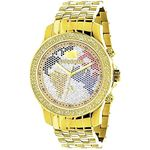 World Map Mens Diamond Watch 0.25Ct Yellow Gold