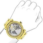 Mens World Map Diamond Watch By LUXURMAN 0.12Ct-3