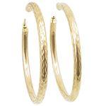 10k Yellow Gold earrings Diamond cut hoop AGBE6 1