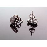 .925 Sterling Silver Black Heart Black Onyx Crystal Micro Pave Unisex Mens Stud Earrings 9mm 3