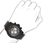 Trendy Mens Genuine Black Diamond Watch by Luxurman 2.25ct Extra Leather Bands 3