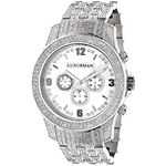 Mens Raptor Iced Out Real Diamond Watch 1.25ct White MOP Bezel by Luxurman 1