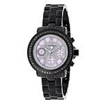 Ladies Diamond Watches: Luxurman Real Black Diamond Watch 2.15 Carats Pink Dial 1