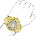 Luxurman Oversized Iced Out Mens Diamond Watch Yellow Gold 2ct Chronograph 3