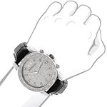 Mens Diamond Watch 0.25ct by Luxurman Black Genuine Leather Strap Yellow Face 3