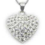 """Ladies .925 Italian Sterling Silver White Stone Heart Pendant Length - 9.5in (Length- 21mm"