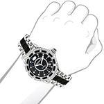 Luxurman Galaxy Midsize Real Diamond Watch Black Ceramic 1.25ct Leather Band 3