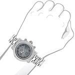 Luxurman Mens Genuine Diamond Watches: Plated Platinum Chronograph Watch 2ct 3