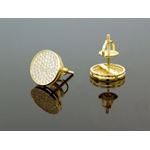 .925 Sterling Silver Yellow Circle White Crystal Micro Pave Unisex Mens Stud Earrings 3