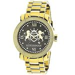 Phantom Mens Large Real Diamond Watch Yellow Gold Plated 0.12ct by Luxurman 1