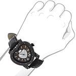Luxurman Ladies Diamond Heart Watch 0.25ct Black MOP Paved in Sparkling Stones 3
