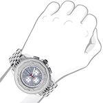 Centorum Mens Real Diamond Watch 0.55ct Midsize Chronograph White MOP Steel Band 3