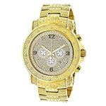 Oversized Iced Out Mens Diamond Watch Yellow Gold