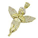 Mens 10k Yellow Gold Praying Angel Cherub Pendant 1