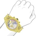 World Map Mens Diamond Watch 1.25Ct Yellow Gold-3