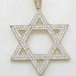Mens 10k Yellow gold Star of david gold cz pendant GCHA33 3