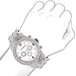 Mens Raptor Iced Out Real Diamond Watch 1.25ct White MOP Bezel by Luxurman 3