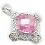 Ladies .925 Italian Sterling Silver fancy pendant with pink stone Length - 23mm Width - 17mm 3