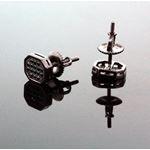 .925 Sterling Silver Black Octagon Black Onyx Crystal Micro Pave Unisex Mens Stud Earrings 8mm 3