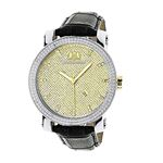 New White And Yellow Gold Luxurman Mens Diamond Watch 0.18ct Black Leather Band 1