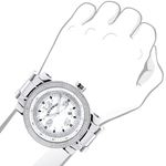 Mens Diamond Watch 0.12 ct Iced Out Luxurman Paved in White Sparkling Stones 3