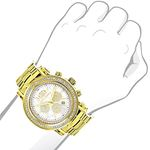 Large Diamond Bezel Watch For Men Yellow Gold Pl-3
