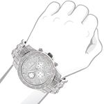 Iced Out Watch Chronograph Subdials Real Luxurman Mens Genuine Diamonds 1.25ct 3