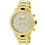 Luxurman Liberty Mens Real Diamond Watch 0.5ct Yellow Gold Plated Swiss Movement 1