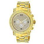 Luxurman Watch Mens Oversized Real Diamond Watch 0.75ct Yellow Gold Chronograph 1