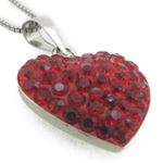 """""""Ladies .925 Italian Sterling Silver Red Stone Heart Pendant Length - 9.5in (Length- 22mm"""