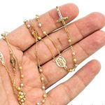 14K 3 TONE Gold HOLLOW ROSARY Chain - 30 Inches Long 3.02MM Wide 3