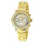 Luxurman Womens Real Diamond Yellow Gold Plated Montana Watch 2ct Extra Straps 1