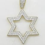 Mens 10k Yellow gold Outer star of david gold cz pendant GCHA34 3