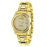 Iced Out Ladies Real Diamond Yellow Gold Plated Watch 1.5ct Tribeca by Luxurman 1